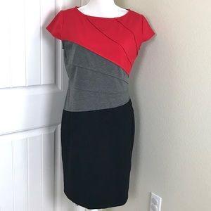Midnight V. Sunburst sheath Dress Cap Sleeves 12